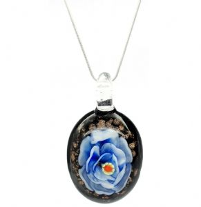 Distinctive Decorative Blue Flower Venetian Murano Glass Pendant / Necklace (1)